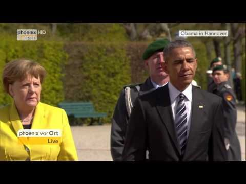 Obama-Besuch in Hannover: Empfang des US-Präsidenten mit militärischen Ehren am 24.04.2016 - YouTube
