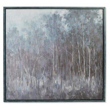 Cuadro el Bosque lienzo con marco pintado a mano casual