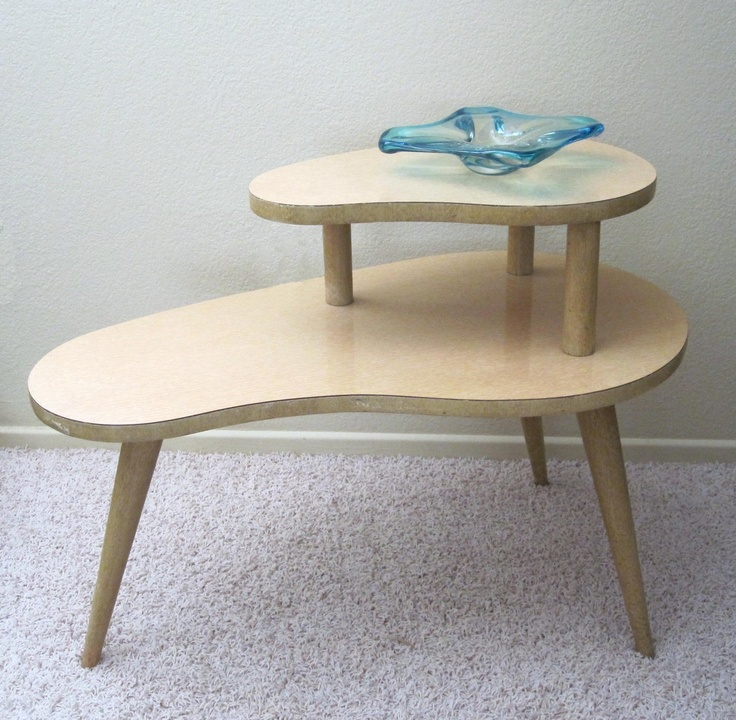 Vintage 1950s kidney shaped 2 tier end table retro for Retro side table
