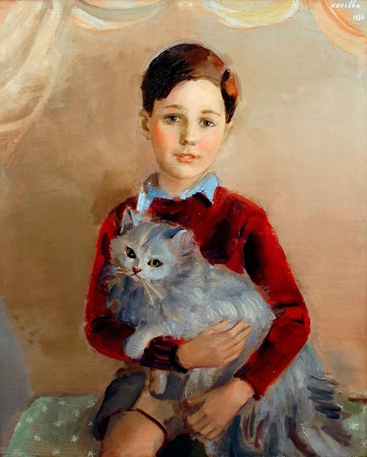 Rajmund Kanelba: Chłopiec z kotkiem, 1938 r. olej, płótno, 76 × 62 cm sygn. i dat. p. g.: Kanelba/1938