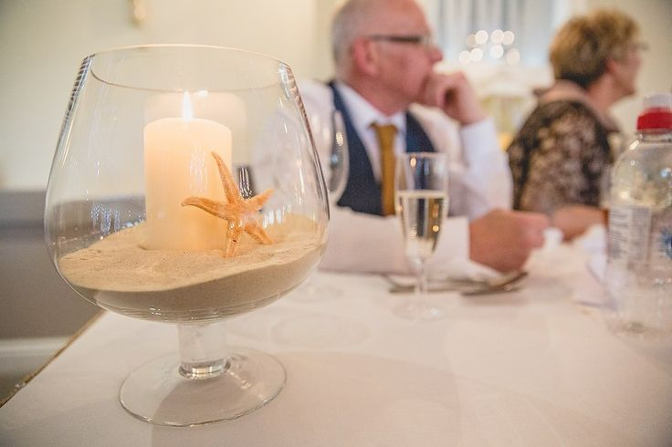 Coastal decor in a glass! Pembrokeshire wedding photographer - Whole Picture at Wolfscastle Hotel – Whole Picture Weddings