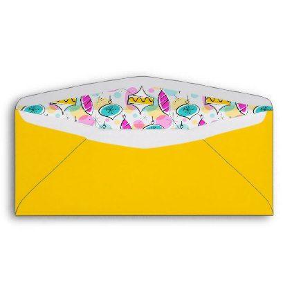 Retro Tree Baubles Yellow envelope business envelopes custom unique diy cyo personalize idea envelope