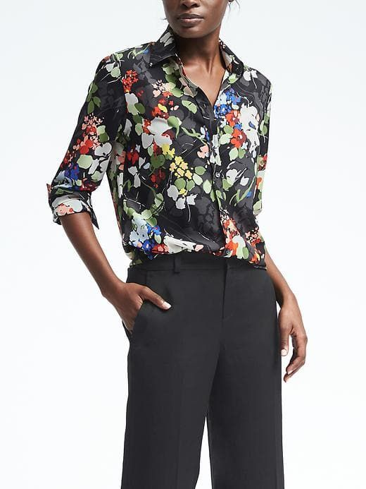 72af69df9805 Easy Care Dillon-Fit Floral Utility Shirt | Banana Republic | What to Wear  - or what I would wear in 2019 | Fashion, Shirt blouses, Floral blouse