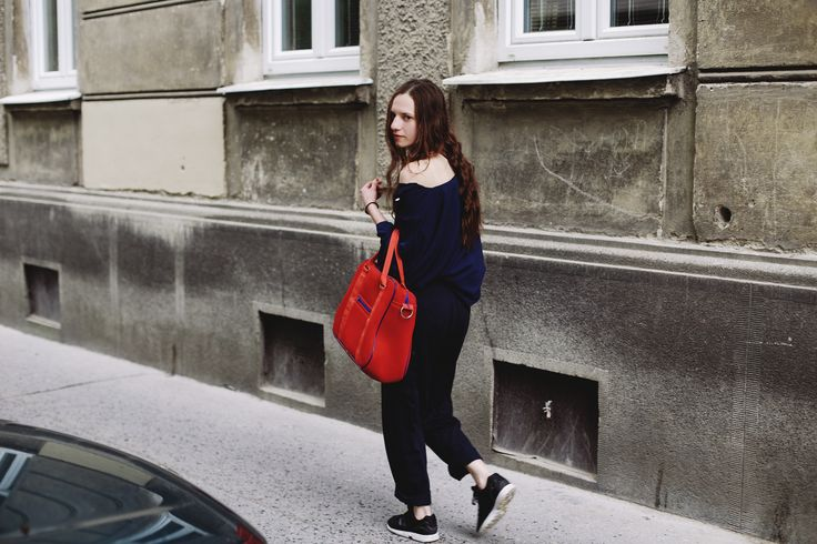 POKOJÍK / Blouse by Pinwheels and trousers Conceptxy accompanied by red bag by Pavel Jevula