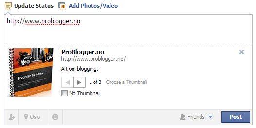 Hjelp Facebook viser feil informasjon om bloggen min når jeg legger inn link  http://problogger.no/2013/08/29/hjelp-facebook-viser-feil-informasjon-om-bloggen-min-naar-jeg-legger-inn-link/ #facebook #status #oppdatering #feil #guide #debug #feilsøk #innlegg #informasjon #blogg #problogger #developder