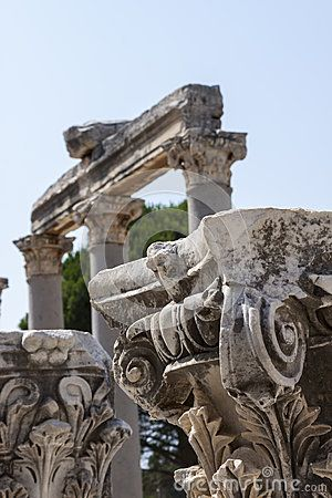 Columns in the ancient greek and later roman city of Ephesus, in the actual Turkey