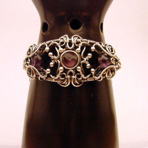 Sterling and fine silver and amethysts wire wrapped bracelet by Polish designer Myrrh.