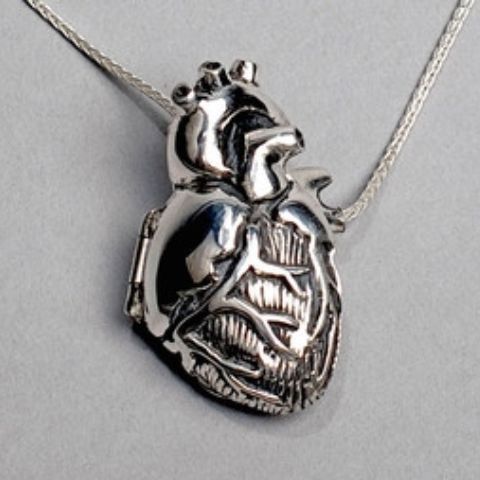 give me your heart Original Silver Anatomical Heart Locket