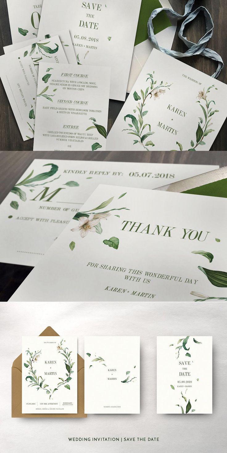 Green Foliage Wedding Suite Wedding Invitation Packages Wedding Invitations Foliage Wedding