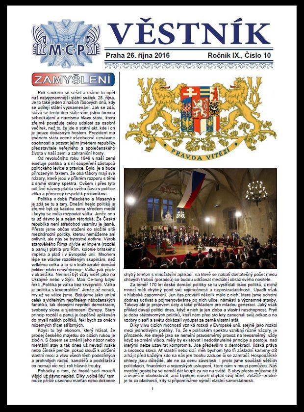 Věstník MCP 10/2016 (novinky)