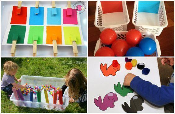 Attività e giochi Montessori per bambini di 2 anni fino a 3:riconoscere i color...