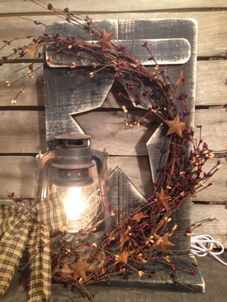 Country Primitive Metal Lantern Decoration Berry's Farmhouse Decor #NaivePrimitive #Handmade