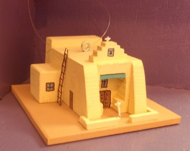 Our Lady of the Assumption Church in Zia Pueblo ornament by Carolyn Johnson. New Mexico