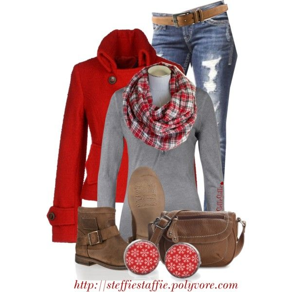 """""""Red, Gray & Plaid"""" by steffiestaffie on Polyvore"""