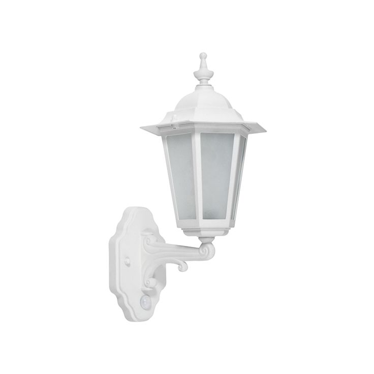 Hanoi Outdoor PIR LED Light In White, A Traditional Style Light Fitting  With Modern PIR