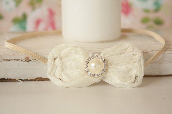 Elegant Ivory Bow Headband with Rhinestone by BeautyfromashesUSA