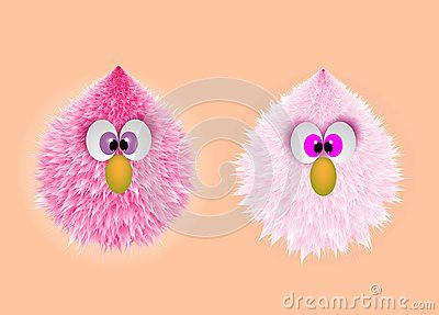Wallpaper of twins little hairy monster with big eyes and orange nose. Fantasy chicken  on background vector illustration .