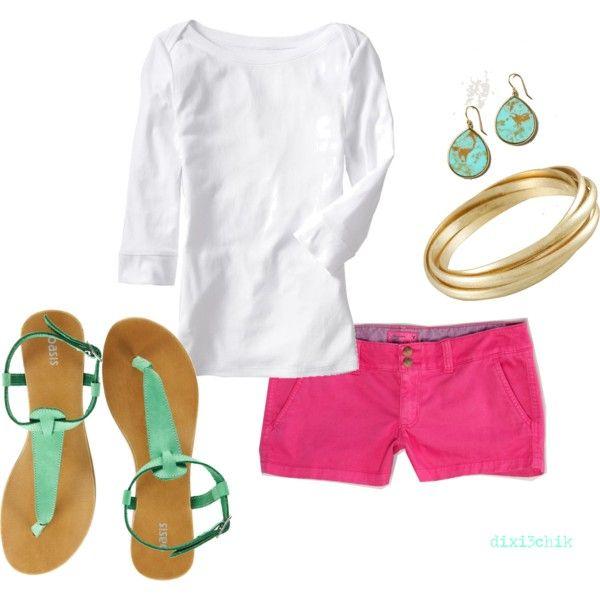 Pink shorts: Colors Combos, Fashion, Style, Clothing, Summer Outfits, Hot Pink Shorts, Closet, Summer Colors, Longer Shorts