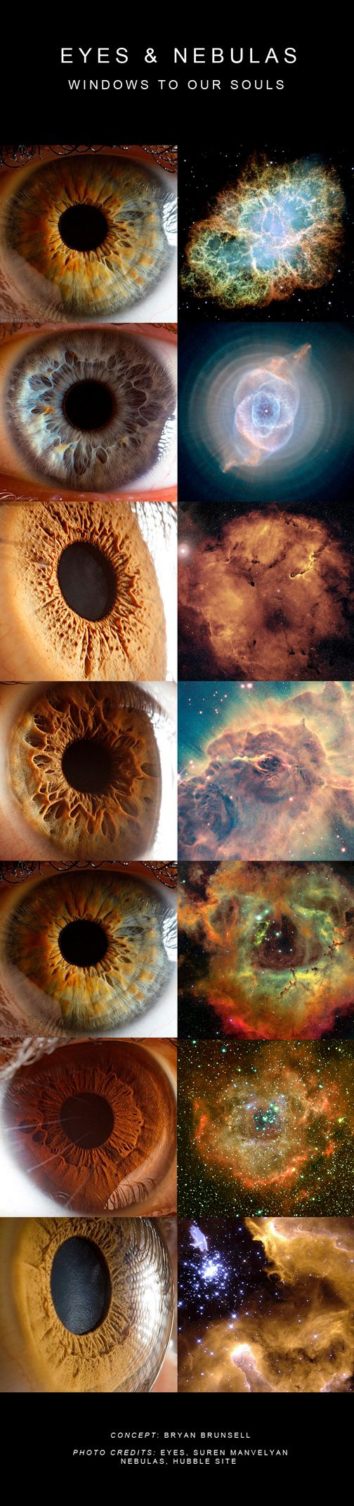 A beautiful idea. You are the cosmos. (Concept: Bryan Brunsell Phote Credits: Eyes, Suren Manvelyan. Nebulas, Hubble Site)