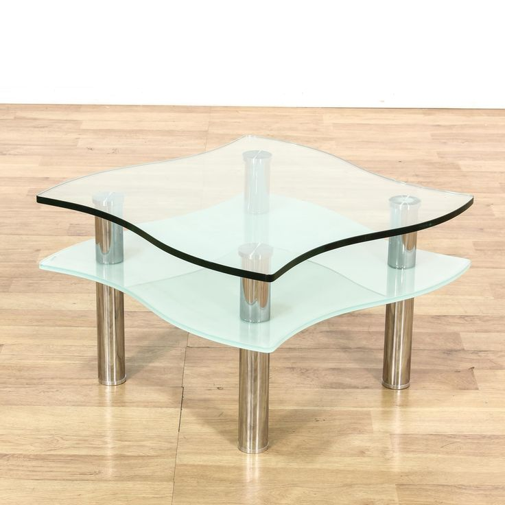 This Contemporary End Table Is Featured In A Durable Metal With A Shiny  Chrome Finish. This Sleek Side Table Has Curved Glass Table Top With A Frosted  Glass ...