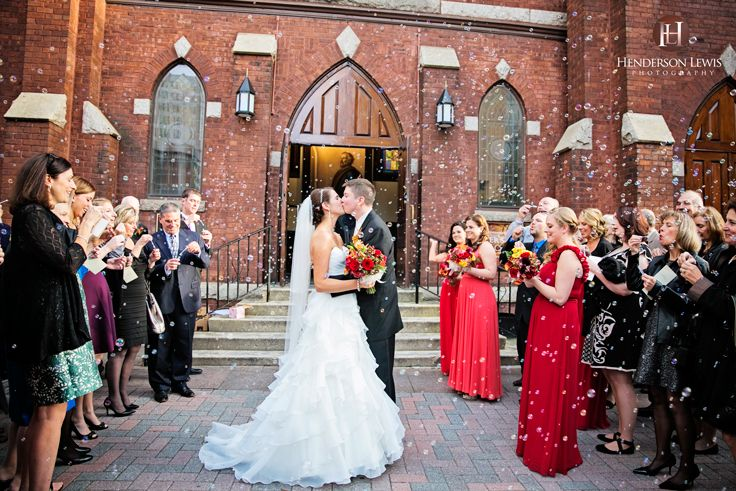 Bubble Exit, after ceremony, leaving the church, St.Peters, Charlotte, NC, The Green, Uptown, Wedding Day