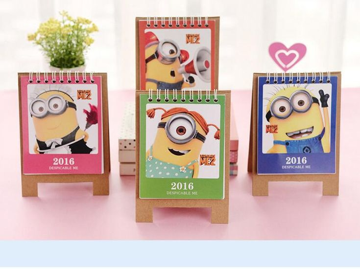 Kawaii Anime Thema 2016 Jahr Kalender Minions Spule Schreibtisch Planer Cakebdar Schule Bürobedarf Papelaria Calendario Calendrier
