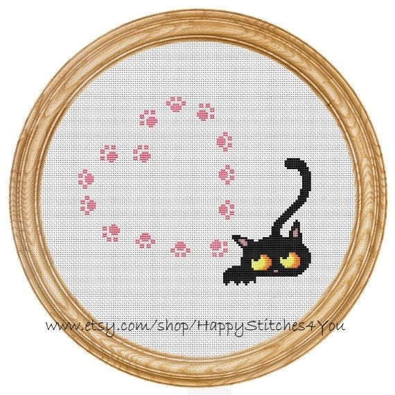 Cross Stitch Pattern PDF cat and hearts by HappyStitches4You
