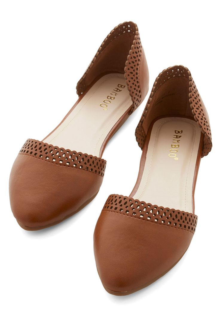 Feeling Rejuvenated Flat. After a serene morning in the yoga studio, glide through a sunny day in these caramel-brown flats. #tan #modcloth