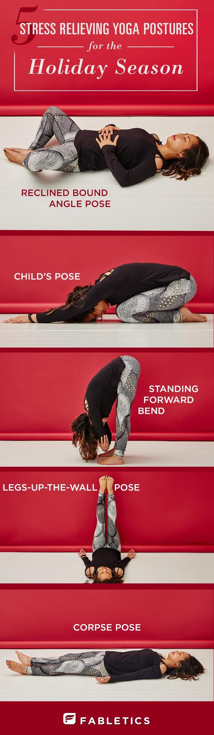 Christmas pressures?? Stop stressing! Try these 5 yoga poses for a stress-free holiday. In other words - take 5 or just STOP, relax & re-group. Ohh & don't forget to breathe!!