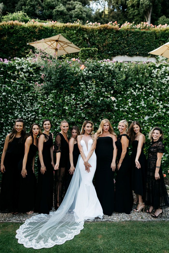 Classically Italian Belmond Villa San Michele Wedding With A Modern Twist Junebug Weddings Black Bridesmaid Dresses Long Black Bridesmaid Dresses Wedding Bridesmaid Dresses