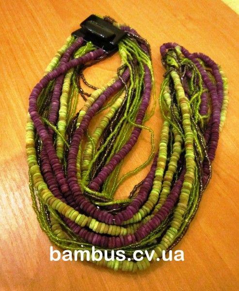 Бусы Индия 16-0 бамбук зеленый+сиреневый