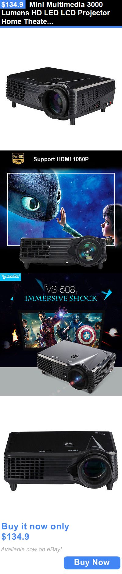 Home Theater Projectors: Mini Multimedia 3000 Lumens Hd Led Lcd Projector Home Theater Tv/Hdmi 1080P 3D BUY IT NOW ONLY: $134.9