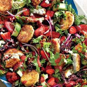 Strawberry Salad with Warm Goat Cheese Croutons  | MyRecipes.com