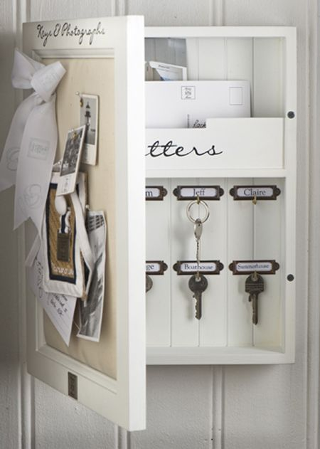 "Organizer for entry way - I want to do this! I think it would be great if I could find an old ""medicine Cabinet"" and spruce it up!!"
