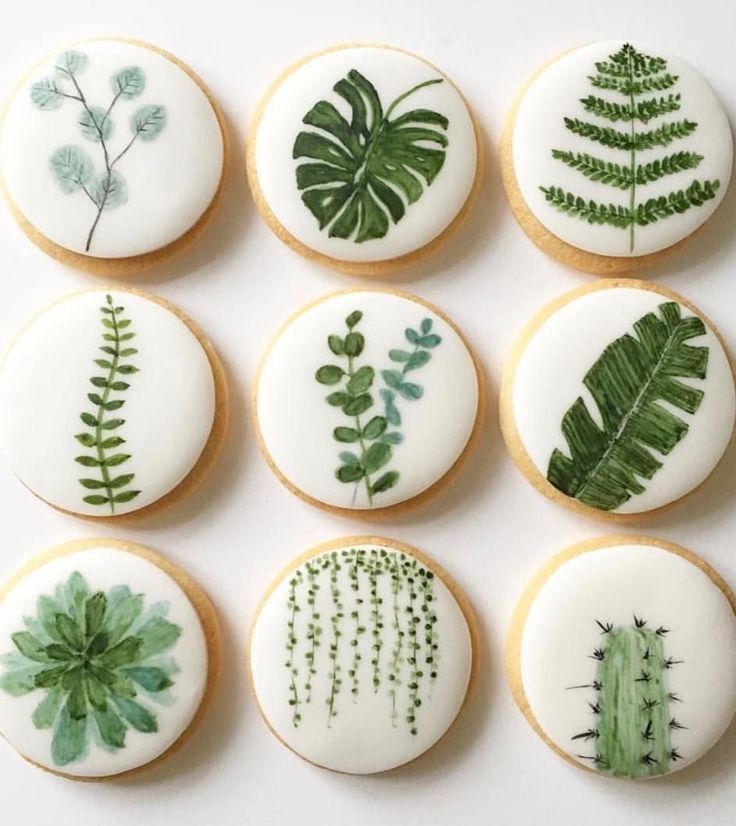 pretty leaf print cookies