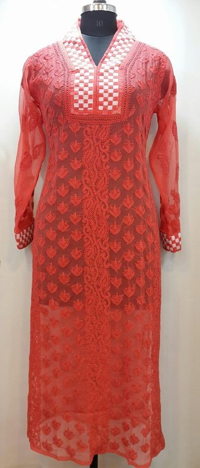 Lucknow Chikan Online Kurti Cherry Red Faux Georgette $46