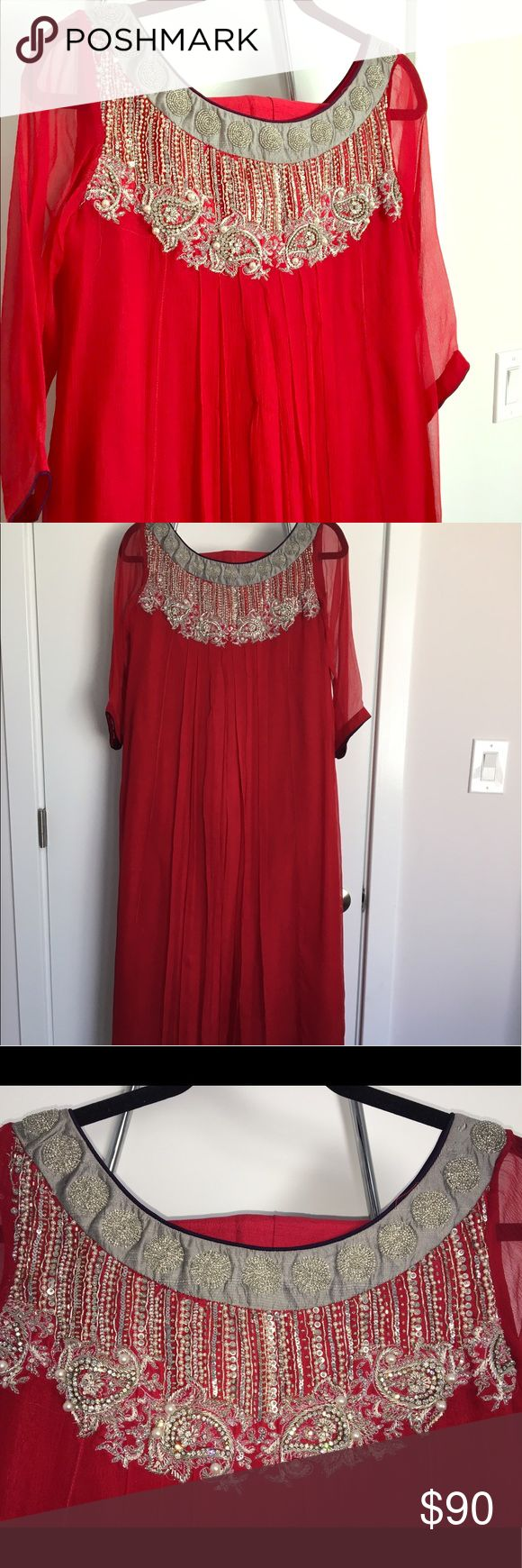 Red Chiffon Salwar Kameez Dress by HSY Red Chiffon dress by HSY R2W collection, in size medium. Beautifully embellished neckline with silver embroidery. Red silk trouser included. Size medium, but big enough to fit a large also. Other