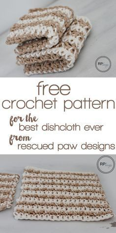 Free Crochet Pattern for the Best Dishcloth Ever from Rescued Paw Designs! #tutorial #gift #gifts