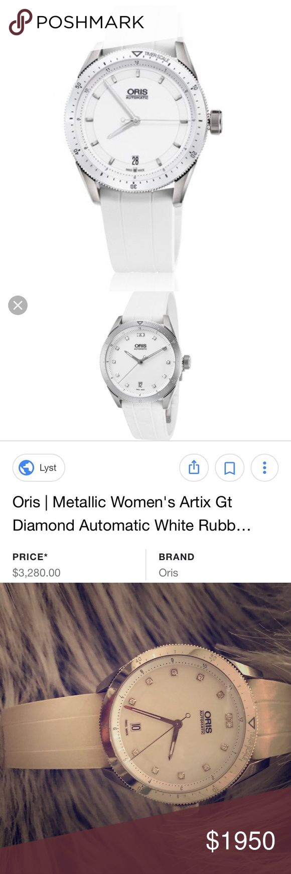 ORIS white real diamond sporty watch Only wore twice, no scratches on the face as seen in pictures. Band is white but it is not bright white as shown in stock photos. Please ask all questions before purchasing as this is final sale. I do not know the carat weight but they are 100% real diamonds. I purchased this in Las Vegas at the fashion show mall from Berger and Son. This piece is amazing! Oris Accessories Watches