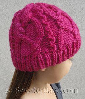 #160 Meandering Cables One-Ball Hat PDF Knitting Pattern #knitting #SweaterBabe.com