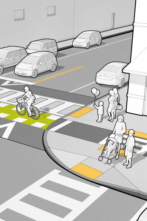Safe multimodal junction from Mass DOT's Separated Bike Lane Guide. Click image for link to full guide and visit the slowottawa.ca boards >> http://www.pinterest.com/slowottawa