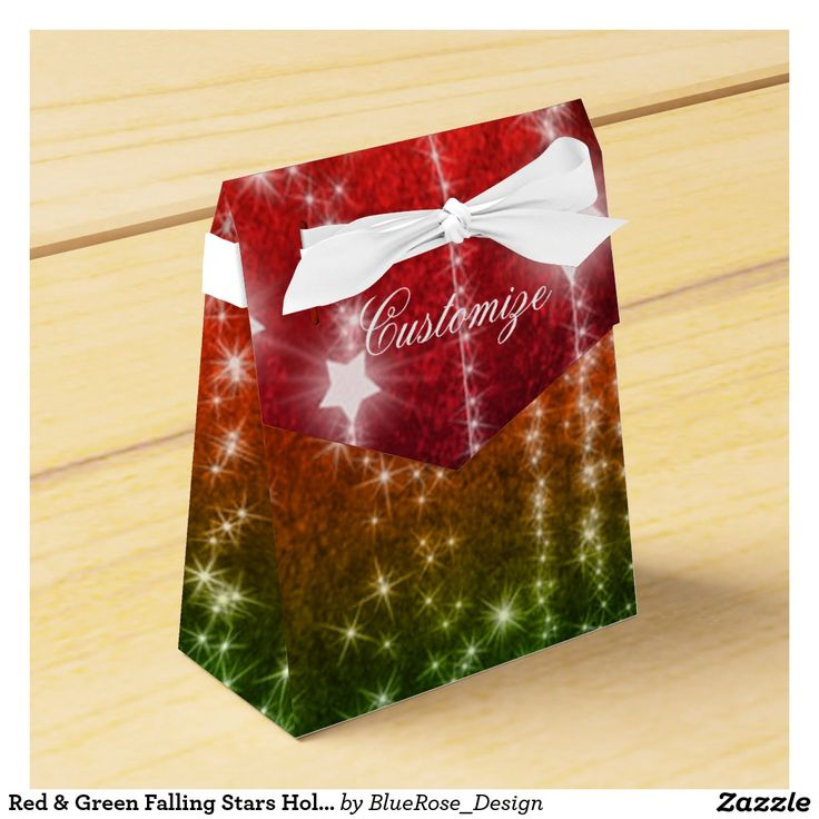 Red & Green Falling Stars Holiday Tent Favor Box