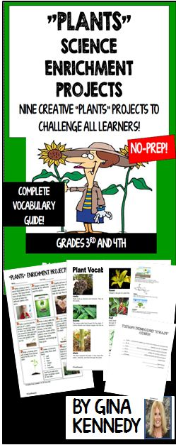 NO PREP  CHALLENGING  DIFFERENTIATED  quot PLANTS quot  ENRICHMENT WRITING AND RESEARCH PROJECTS   Students choose to complete three projects from nine different activities with a plant theme to show their knowledge of the the plant cycle and other plant concepts   This is an excellent way to integrate science and writing with no teacher prep   A set of plant vocabulary terms and pictures are included as well as a rubric