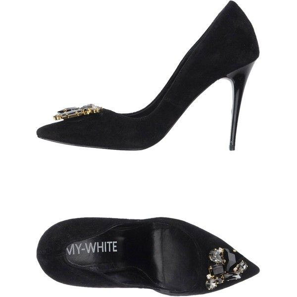 My-white Pump ($140) ❤ liked on Polyvore featuring shoes, pumps, black, stiletto heel pumps, white stilettos, black stiletto shoes, white court shoes and black pumps