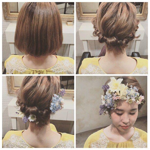 * * ウェディングヘア♡ * ボブ * 毛先のみカールさせてまとめる * @mille_la_chouette  のヘッドパーツ * とってもステキなので 花嫁さまにオススメです♡  #ウェディング #wedding #ヘアアレンジ #fashion #ネイル