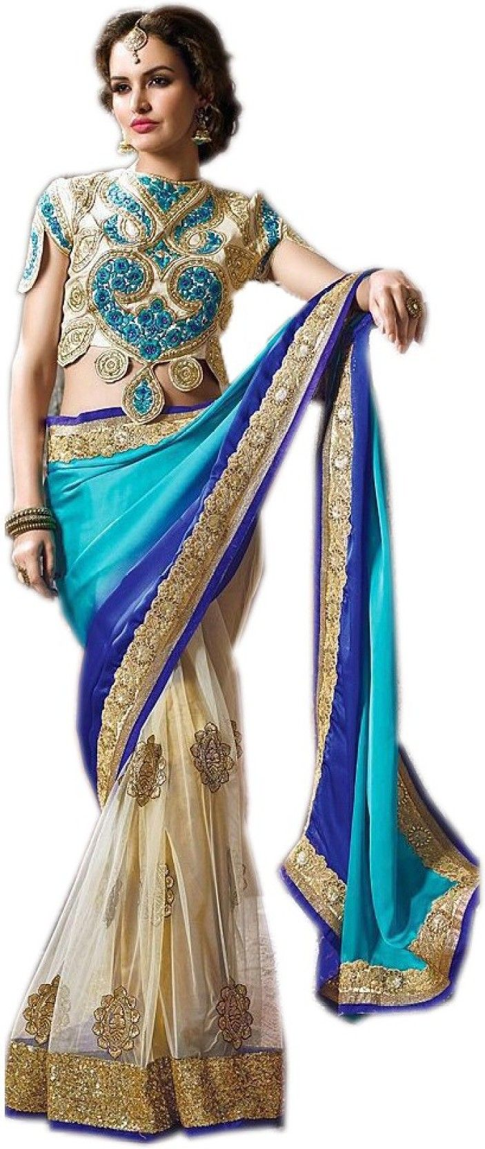 Fab Valley Embriodered Bollywood Georgette, Net Sari  (Blue, Beige) - http://www.zazva.com/shop/women/clothing-and-accessories/women-clothing/women-ethnic-wear/women-sarees/fab-valley-embriodered-bollywood-georgette-net-sari-blue-beige/ Saree Fabric: Georgette, Net Blouse Fabric: Dupion Silk With Blouse Piece Type: Bollywood  #EmbrioderedSaree, #FashionSaree, #Saree