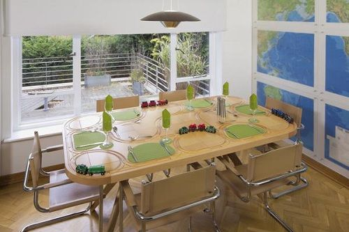 Dining Tables With Built-In Toy Train Tracks - DesignTAXI.com