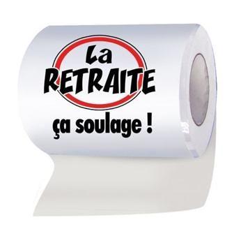 Vous recherchez une idée de cadeau marrante et insolite pour le départ à la retraite d'un(e) collègue ? Voici ce rouleau de papier WC ! Et oui, la retraite, ça soulage !