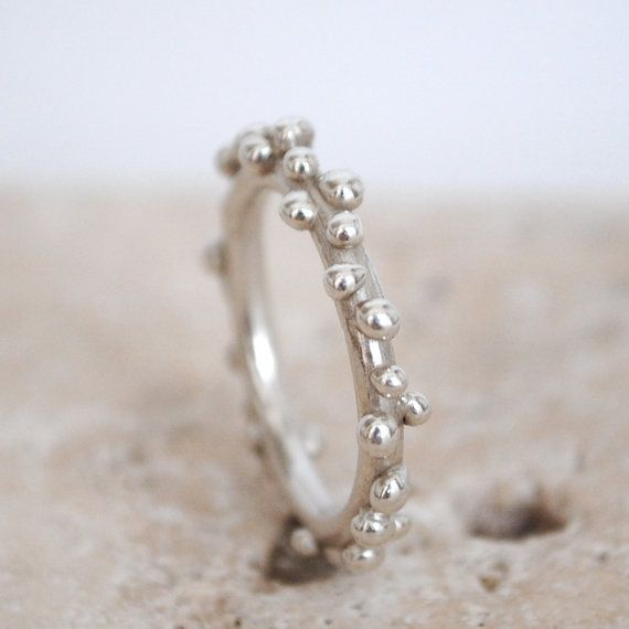 Sterling silver organic ring, handmade wedding ring, wedding band, stacking ring, bubbles ring