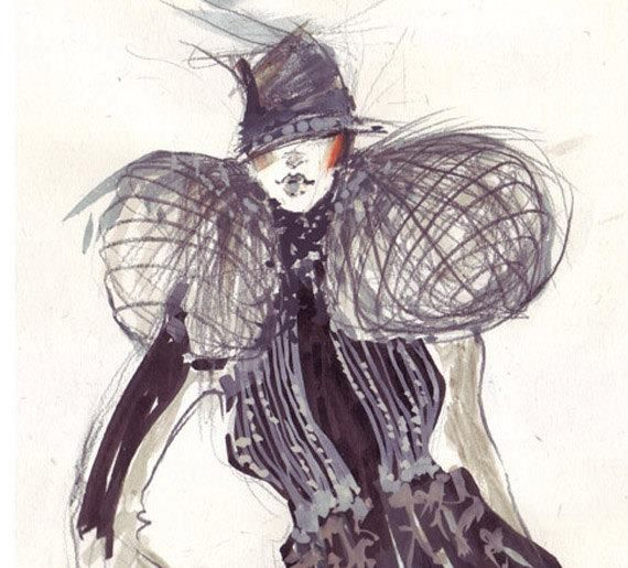 Fashion sketch done in a mixed technique: pencil, watercolor, markers, ink.